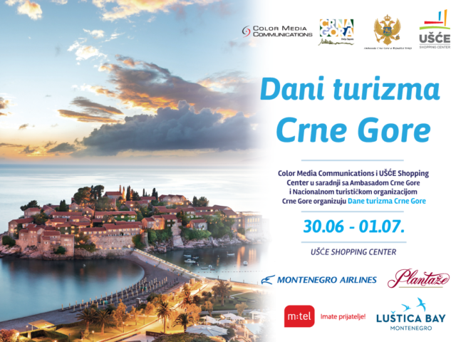 Mini sajam Dani turizma Crne Gore u petak 30.06. u 17h u Ušću