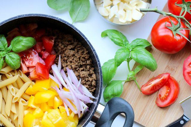 vegan pasta with veggie ground round and fresh veg scaled